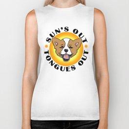Sun's out - Tongues out (Corgi) Biker Tank