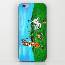 Easter - Spring-awakening - Puppy Capo with Rabbit and Chick iPhone Skin