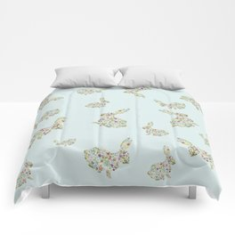 Spring Flowers Bunny on Blue Comforters