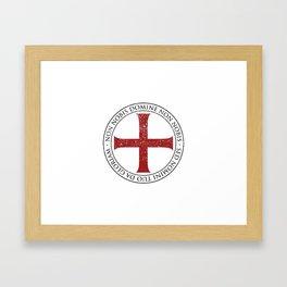 Templar Cross and Motto Framed Art Print