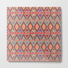 Winter Marsala Tribal Design Metal Print