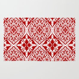 BOHEMIAN PALACE, ORNATE DAMASK: RED and WHITE Rug