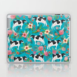 Holstein cattle farm animal cow floral Laptop & iPad Skin