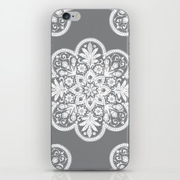 Floral Doily Pattern   Grey and White iPhone Skin