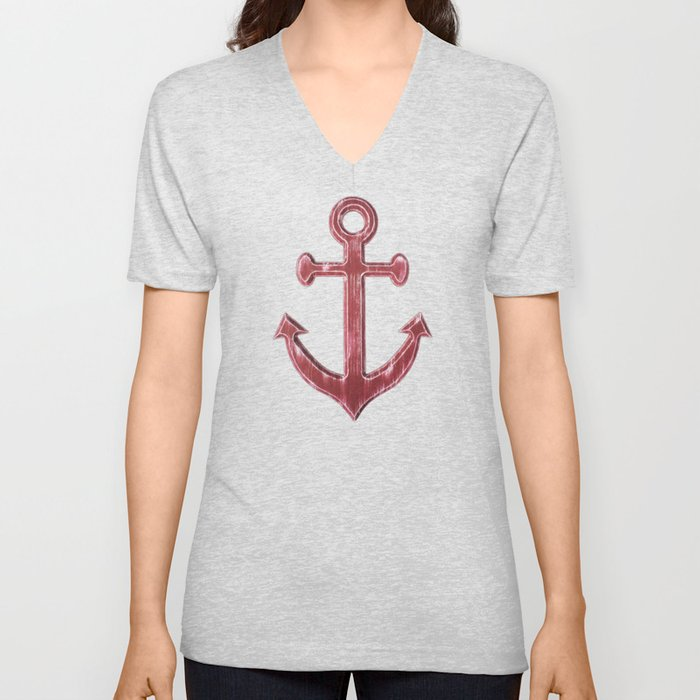 Red Anchor Pattern Unisex V-Neck