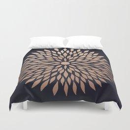 Rose Gold Flower Duvet Cover