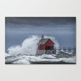 Grand Haven Lighthouse in a November Storm on Lake Michigan Canvas Print