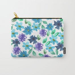 Watercolor cornflower, forget-me-not, rose green leaves Seamless pattern on white background Carry-All Pouch