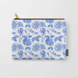 Blue Roses Watercolor Carry-All Pouch