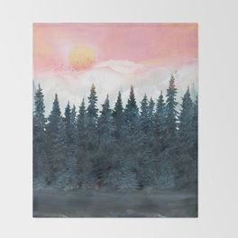 Forest Under the Sunset Throw Blanket