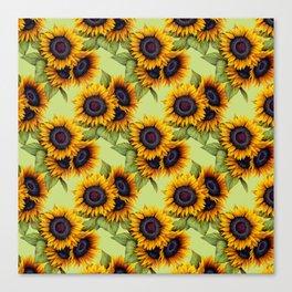Sunflowers field yellow green rustic pattern Canvas Print
