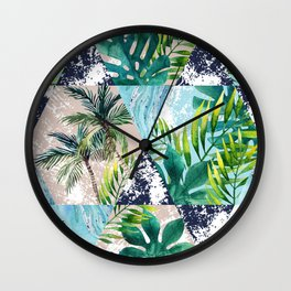 Tropical leaves and palm trees in geometric shapes seamless pattern. Wall Clock