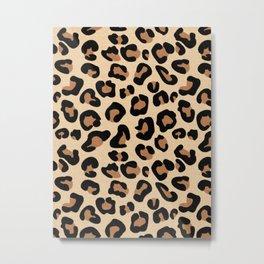 Leopard Print, Black, Brown, Rust and Tan Metal Print