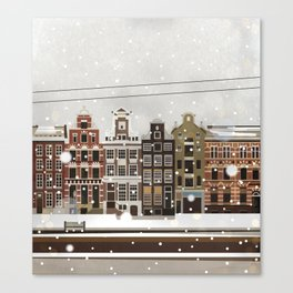 Amsterdam in the snow Canvas Print
