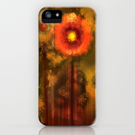 Abstract flowers in golden light iPhone Case