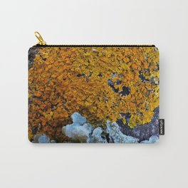 Tree Bark Pattern # 6 with Orange and Blue Lichen Carry-All Pouch