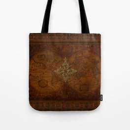 Antique Steampunk Compass Rose & Map Tote Bag