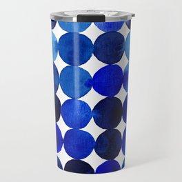 Blue Circles in Watercolor Travel Mug