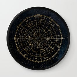 Golden Star Map Wall Clock