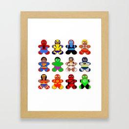 Superhero Gingerbread Man Framed Art Print