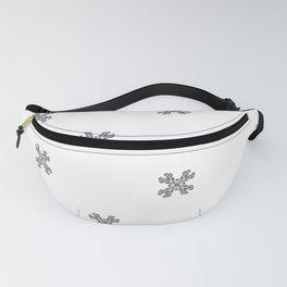Horned Skull mandala seamless pattern - black and white Fanny Pack