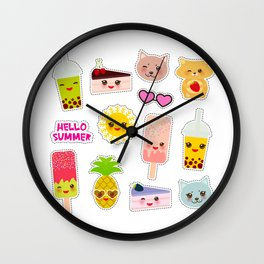 Hello Summer. Pineapple, cherry smoothie cup, ice cream, sun, cat, cake, hamster. Kawaii cute face. Wall Clock