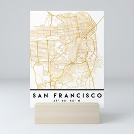 SAN FRANCISCO CALIFORNIA CITY STREET MAP ART Mini Art Print