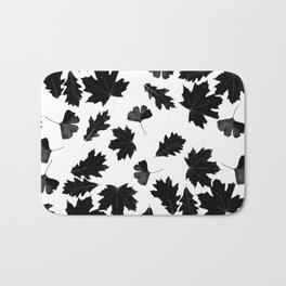 Falling Autumn Leaves in Black and White Bath Mat
