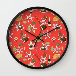 Christmas food festive pattern Wall Clock