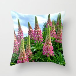 Rose Lupins in the Garden Throw Pillow