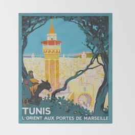 Tunis Tunisia - Vintage Africa Travel Poster Throw Blanket