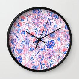 Paisley Watercolor Blue Wall Clock