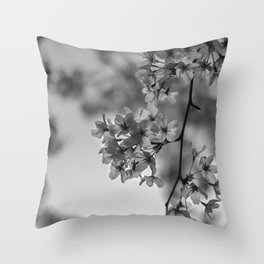 B&W Cherry Blossoms Throw Pillow