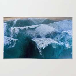 The waves at Banzai Pipeline - Oahu, Hawaii Rug