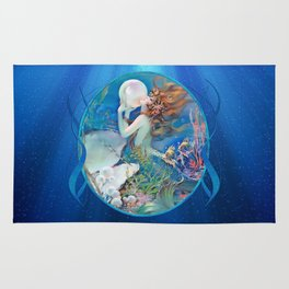 Sensual Art Deco Pearl Mermaid Rug