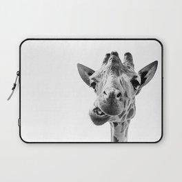 Giraffe Portrait Black and White Laptop Sleeve