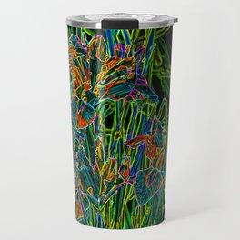 Neon Garden Flowers Travel Mug