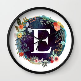 Personalized Monogram Initial Letter E Floral Wreath Artwork Wall Clock