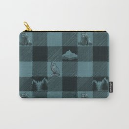 Fox and Bear Plaid #3 BLUE Carry-All Pouch