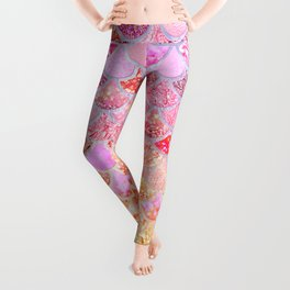 Rosegold & Gold Trendy Glitter Mermaid Scales Leggings