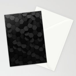 Black abstract hexagon pattern Stationery Cards