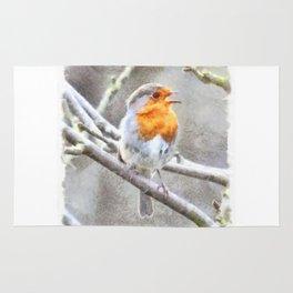 Angelic Robin Watercolor Rug