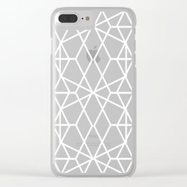 Modern rose gold geometric lines abstract pattern on taupe Clear iPhone Case