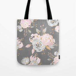 Night Rose Garden Gray Tote Bag