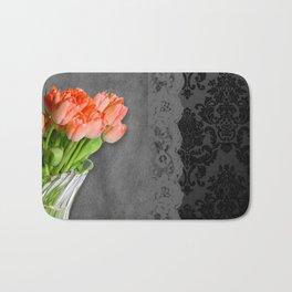 Orange Tulips, Lace & Damask Bath Mat