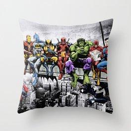 Superhero Lunch Atop A Skyscraper Throw Pillow
