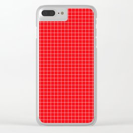 Red Grid White Line Clear iPhone Case