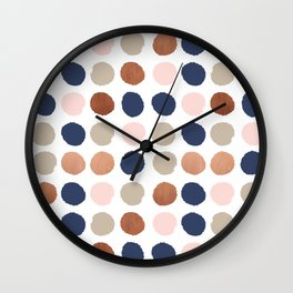 Rose Gold navy copper sparkle modern dots polka dots rosegold trendy pattern cell phone accessories Wall Clock