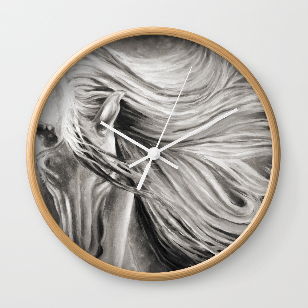 Andalusian Horse Oil Painting Monochrome Wall Clock by Eveystudios CLK8701173