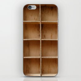 Empty wooden cabinet with cells iPhone Skin